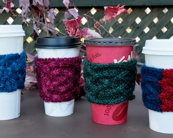 Cable Knitted Coffee Cup Sleeves