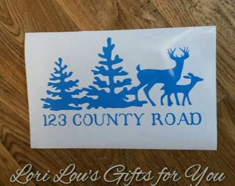 Deer and Trees Mailbox Decal, Address Decal, mailbox decal, mail box decal, rustic mailbox decal, wilderness decal