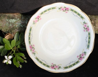 Swinnerton Bowl Trinket Dish - White with Floral Border, Scalloped Edge, and Gold Trim