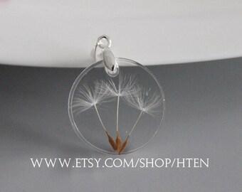 2pcs 25mm Handmade Resin Dandelion Pendant -Dandelion Charms - DIY flower jewelry-Dandelion jewelry