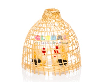 Dollhouse Miniatures Chicken in Bamboo Coop