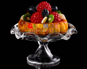 Dollhouse Miniatures Raspberry and Blueberry Mixed Fruit Tart on Scallop Edge Glass Bakery Stand