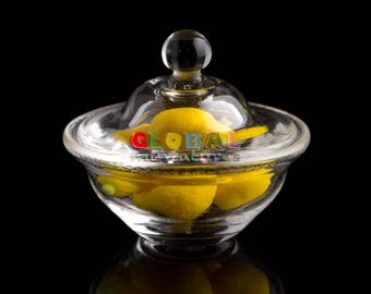 Dollhouse Miniatures Glassware Glass Widemouthed Round Baking Bowl with Lid and Lemon