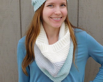 Crochet cowl scarf - blue, gray and ivory cowl - stripe scarf - winter scarf - thick scarf - christmas gift for her - gift for teens