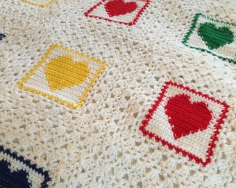 Baby Crochet Blanket Green And Yellow And White Baby Blanket