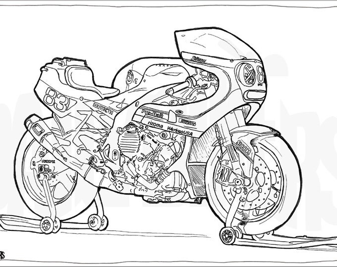 BMW S1000RR Custom Racebike Colouring Page - Motorcycle Illustration - Motorcycle Coloring