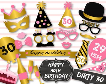 Printable 30th Birthday Party Photo Booth Props, Dirty Thirty Photo Booth Props, Chic Pink, Black and Gold Birthday Party Props, 0405
