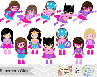 27 Little Girl Superheros Digital Clip Art, Pink Purple Superhero Girl Clipart, Superhero Pink girl Clip Art, Purple superhero clipart 0235
