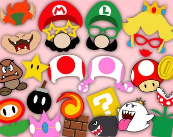 Digital Super Mario Photo Booth Props, Printable Super Mario Party Photobooth Props, Instant Download Super Mario Birthday Party Props 0054