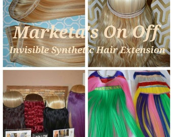 Marketa's On/Off Invisible Hair Extension Synthetic Hair (so easy, fast, comfy)