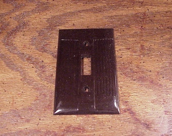 Vintage Brown Ribbed Light Single Offset Plastic Switchplate Cover, no. 26, made by Eagle, Switch Plate, Home Decor
