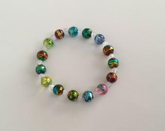 Rainbow bracelet, stretch bead bracelet, colourful jewelry, gift for her, ladies bracelet, girls, spring bracelet, gift idea