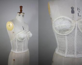 SALE*** 1950s Warners Bustier Bra / 50s Strapless Bralette / Boned Bustier / Warners Merry Widow / 32B / 34B / S - M