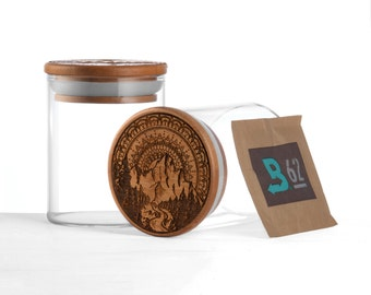 Airtight glass stash jar with silicone seal & boveda pack | Mountain mandala by Topboro