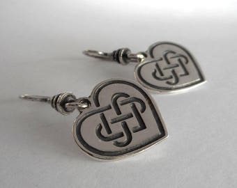 Sterling Silver Celtic Heart Earrings Celtic Knot Earrings Made in Montana Fine Jewelry Gift for  Women Birthday Gift Anniversary Gift