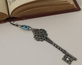 Blue and silver key bookmark