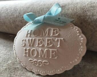 """Nameplate """"home sweet home"""", chalk perfumed"""