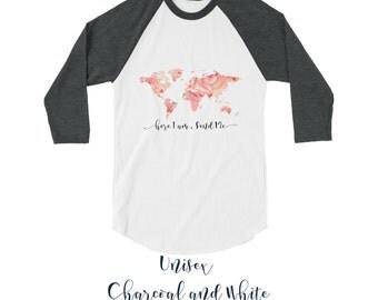 Unisex Fine Jersey Raglan Tee  | JW | SKE Gift Present | Pioneer | Elder's | Woman's | Men's | Here I am Send me | World Map | Coral