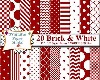 Brick Red Digital Paper Pack, Valentines Day Digital Paper, Dark Red Colored Paper, Hearts Paper, Valentine Paper, Instant Digital Download
