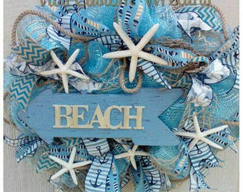 Beach Themed Wreath, Starfish Wreath, Nautical Mesh Wreath, Summer Deco Mesh Wreath, Beach Deco Mesh Wreath, Beach house Decor