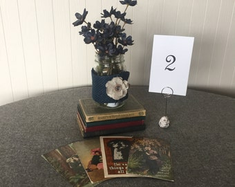 Antique Postcard Table Numbers - Wedding Table Numbers - Centerpiece Table Numbers - Wedding Centerpiece - Table Numbers 1 - 10