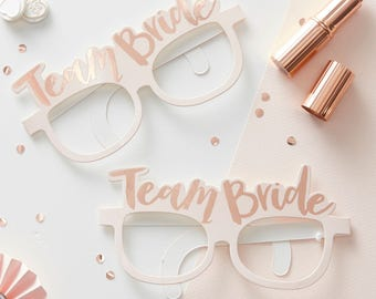 Photo Props | Bachelorette | Bridal Party | Hen Do Photo Props | Bridal Shower | Hen Party | Hen Do | Team Bride | Pink & Rose Gold Glasses