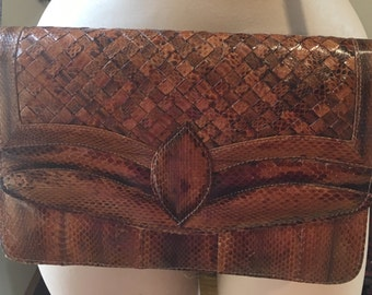 Vintage tan snakeskin handbag-Vintage handbag-Hippy handbag-Festival handbag-Folk handbag