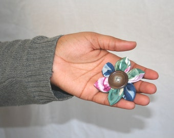 SALE Fabric Flower Accessory, Hair Clip or Brooch, Floral; Handmade Hair Accessories, Womens Hair Clip, Girls Hair Clip, Floral Hair Clip