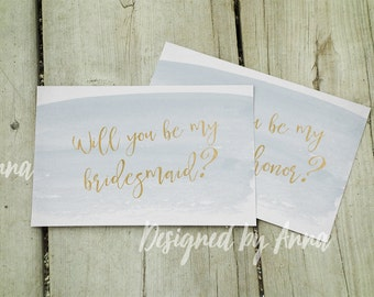 Printable will you be my bridesmaid card watercolor will you be my maid of honor gold and blue will you be my bridesmaid printable gold foil