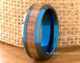 Blue Tungsten Ring Wood Inlay Wedding Band 8mm Beveled Edges Polished Tungsten Band Hers His Womens Mens Ring Hawaiian Koa Wood Comfort Fit