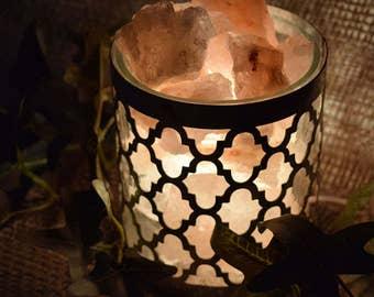 Silver Quarterfoil Himalayan Salt Lamp, Silver Lamp