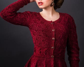 Woman's cable elegant hand knitted jacket with peplum merinos button jacket, burgundy knitwear set