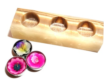 Solid Mexican Onyx Crystal Block Tea Light Candle Holder with Three Flower Tea Lights