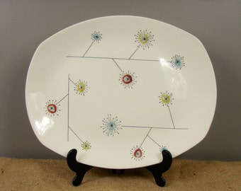 Vintage Stylecraft Flowermist Serving Platter by Midwinter with Abstract Floral Design