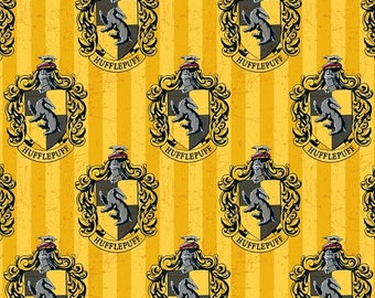 Harry Potter  Fabric / Hogwarts / Hufflepuff Yellow  Digitally Printed Yardage / Camelot 2380114J / Fabric By The Yard & Fat Quarters