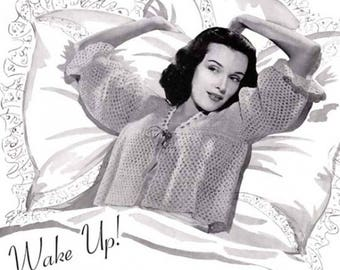 PDF Wake Up Bed Jacket Shrug Sweater Vintage Crochet Pattern Size 14 to 16