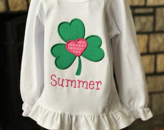 Personalized Shamrock Heart - St. Patrick's Day - Toddler Tee Shirt - Baby Tee Shirt - Clover - Girl  - Short or Long Sleeves - Clover