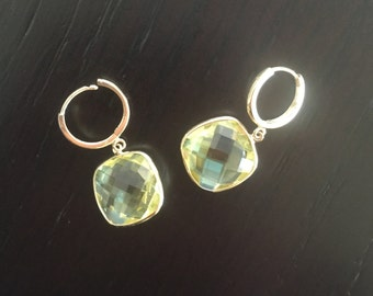 14k solid gold and large lemon quartz earrings , drop earrings , dangling earrings , cushion cut lemon quartz