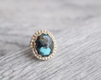 Small turquoise ring, round turquoise ring, sterling silver ring, turquoise jewelry, southwestern ring, southwestern jewelry