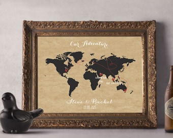 Love Story Map - Valentine/Anniversary/Wedding Present - World Travel