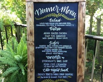 Dinner Menu Chalkboard, Wedding Menu Board, Dinner Menu for Wedding Reception, Rustic Wedding Decor, Menu Board, Hand Lettered Chalkboard