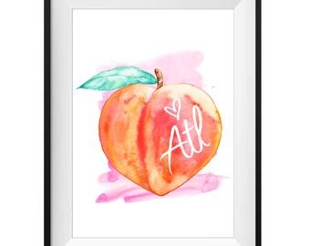 ATL Heart Peach - Original watercolor print