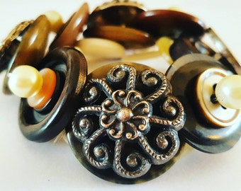 Button bracelet, brown, cream and silver vintage buttons, elasticated bracelet, gift for her