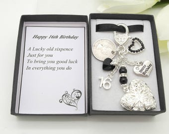 Personalised happy 16th birthday gift. Black heart locket lucky sixpence, charm, keyring,  gift box, choice of heart and number charm