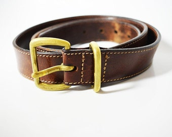 Eddie Bauer Vintage Original Mens Leather Belt With Solid Brass Buckle Brown