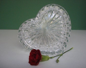 Vintage Glass Heart Trinket Box