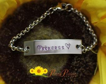 Princess Girls Engraved Bar Bracelet - Hand Stamped Nickname Bar Bracelet - Pink Princess Children's Bracelet