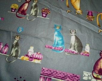 Fun Cat Print, Cotton Fabric, by the half yard