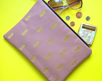 Gold Pineapple Clutch Bag: Embroidered pink lamb's leather and metallic gold thread clutch bag