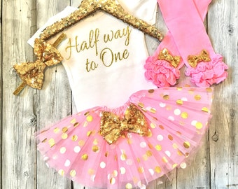 baby girl 6 month outfit, girls six month outfit, pink and gold six months, Halfway to one, six month onesie, 6 months tutu set
